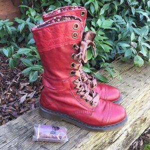Dr Martens Triumph 1914 Red Floral Boots Size 9